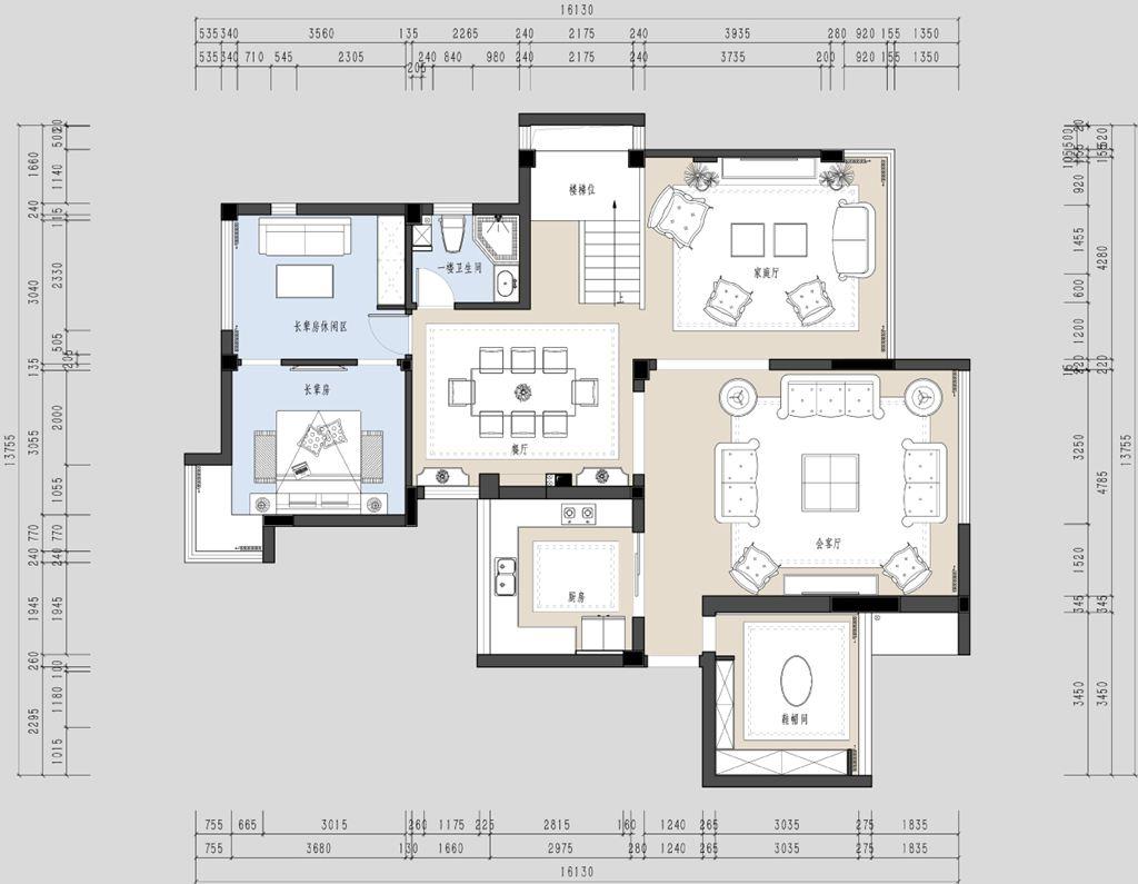 金地格林小城法式复式楼实景效果图装修设计理念