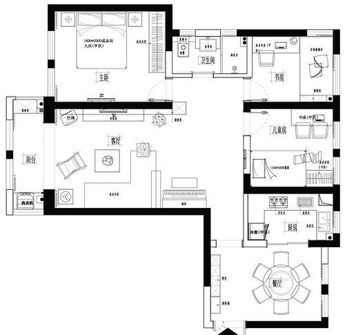 海马公园现代简约109平三居室装修设计理念
