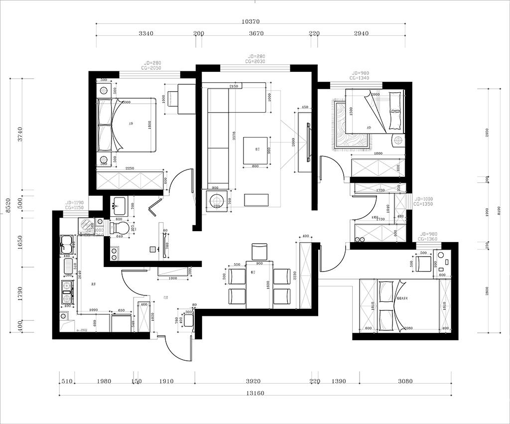国熙台 现代简约装修效果图 三室两厅一厨两卫 110平米
