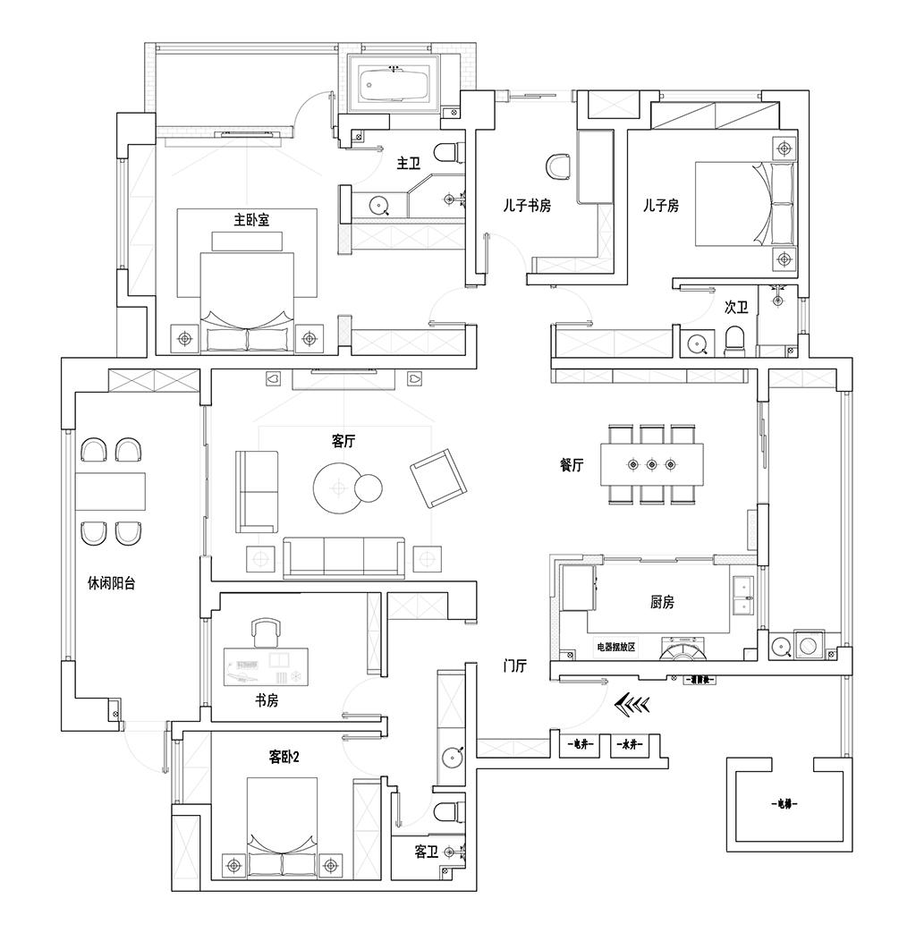 中交滨江国际 现代装修效果图 五室两厅一厨三卫 220平米装修设计理念