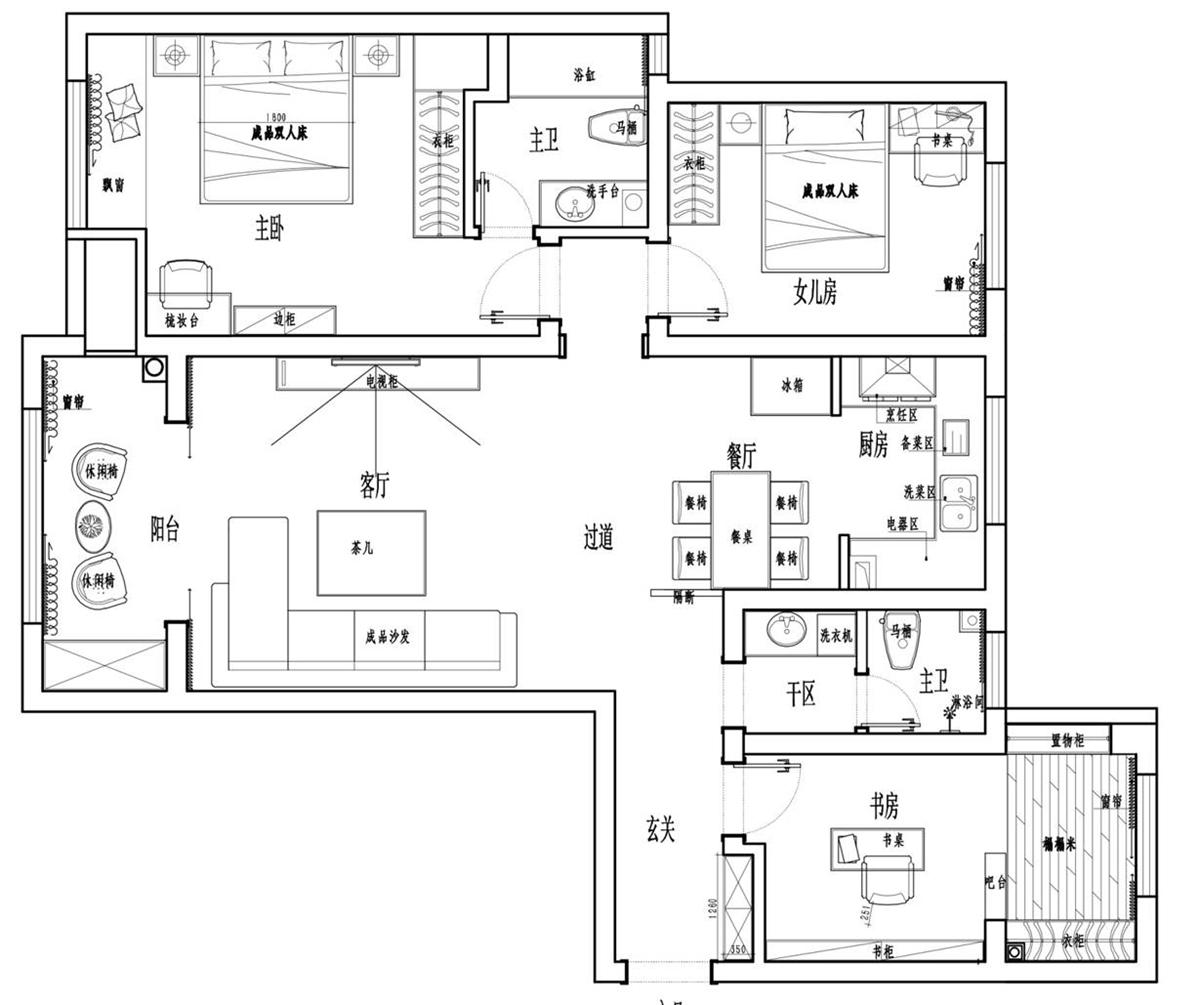 民安北郡现代简约风格130㎡三室两厅装修设计理念