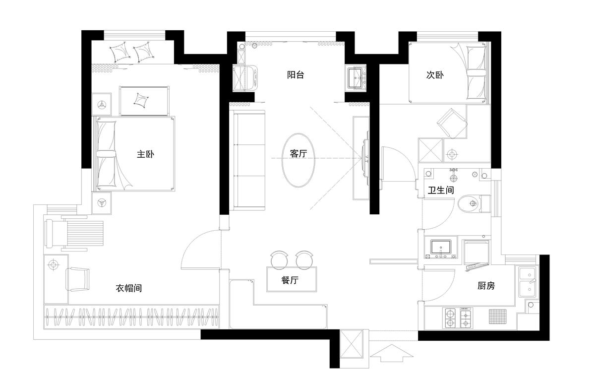 升龙6号院现代简约89㎡平层装修设计理念
