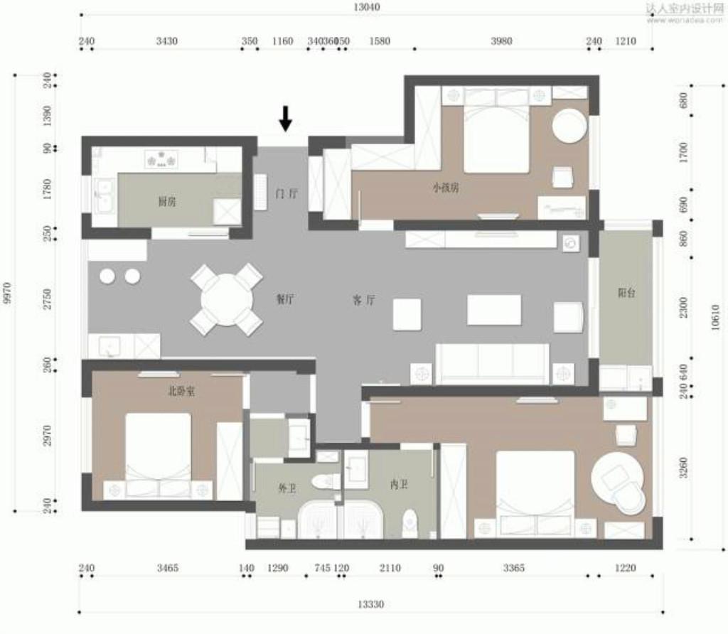 金石家园-130㎡-现代轻禅风装修设计理念