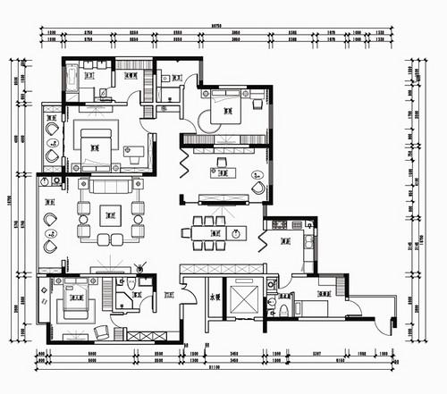 西湖春天现代港式风格252平四居室装修设计理念