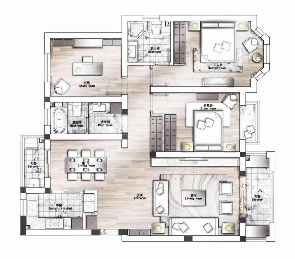 快乐家苑 | 128平米设计案例 简约风装修效果图装修设计理念