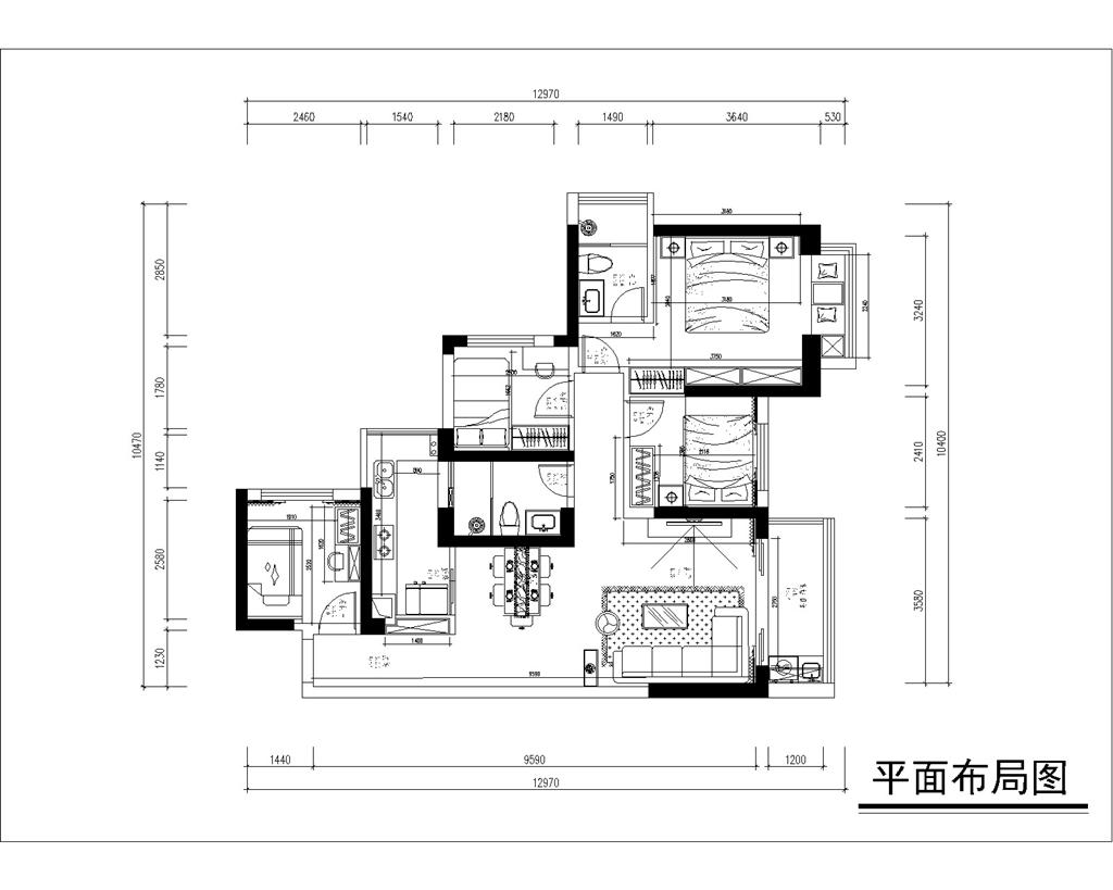 深圳星河传奇 新中式装修效果图 89平米 三居室装饰设计装修设计理念