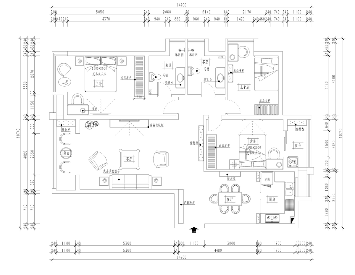 升龙8号院美式风格160㎡平层装修设计理念