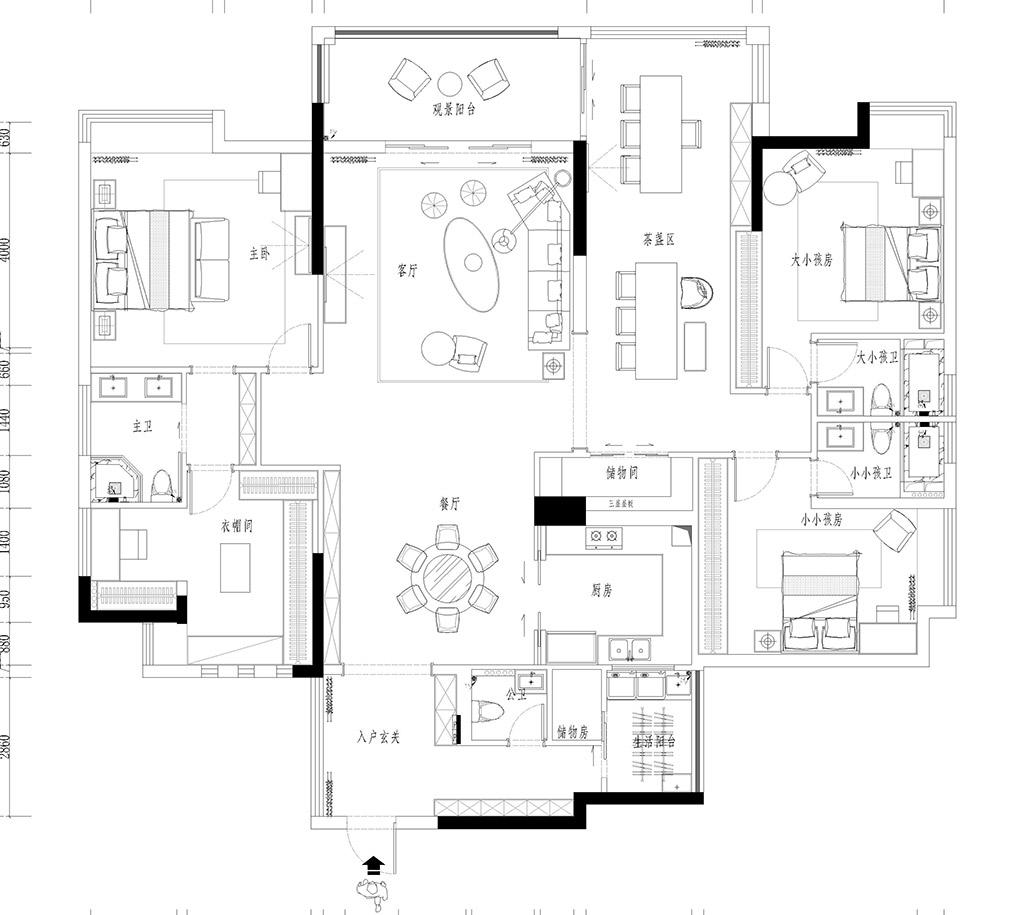 大朗巷头花园家装案例-237㎡港台风三房二厅装修效果图装修设计理念