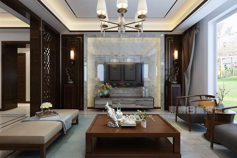 这是客厅电视背景墙的设计,浅灰色的大理石瓷砖彰显了新中式风格磅礴