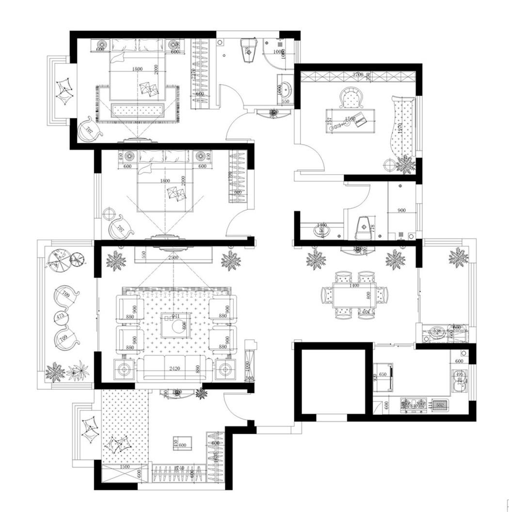 文苑人家新中式172平普通住宅装修设计理念