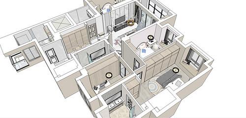 汉口城市广场160平米轻奢风格装修效果图装修设计理念