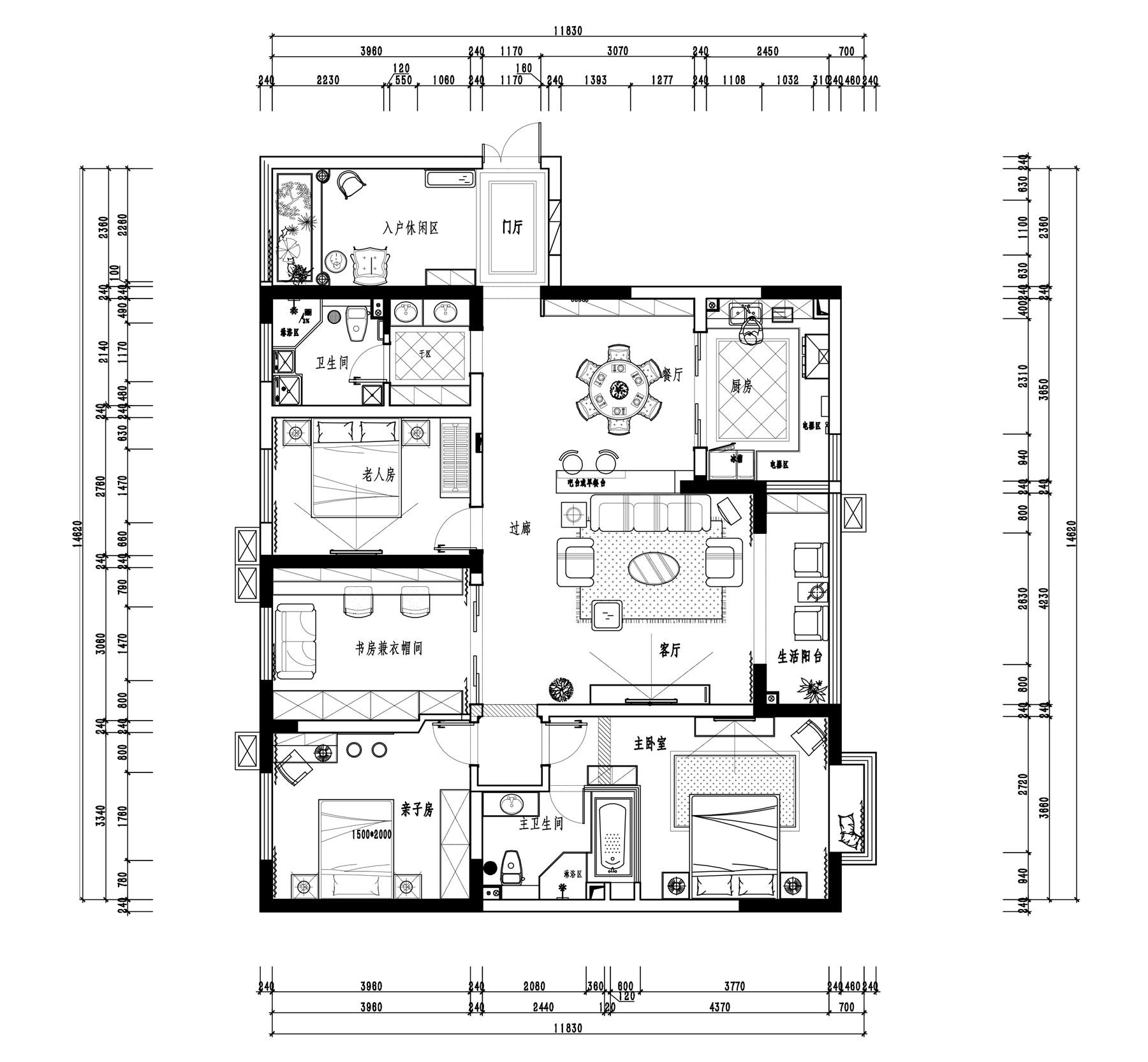 如意花园简欧160平四居室装修设计理念
