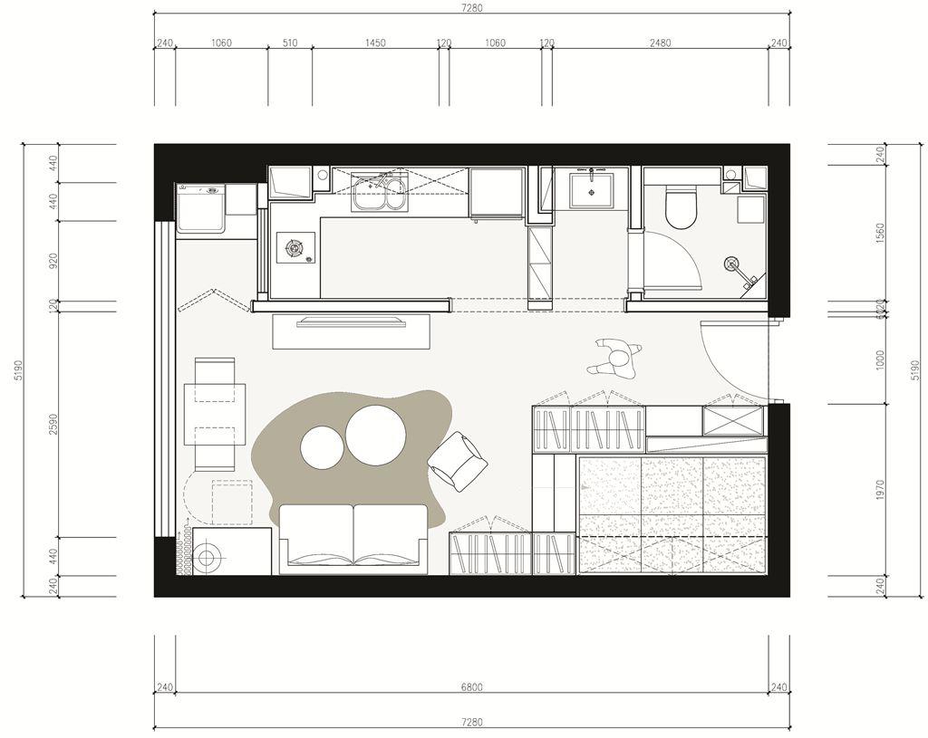 华中国际广场公寓北欧风格装修效果图装修设计理念