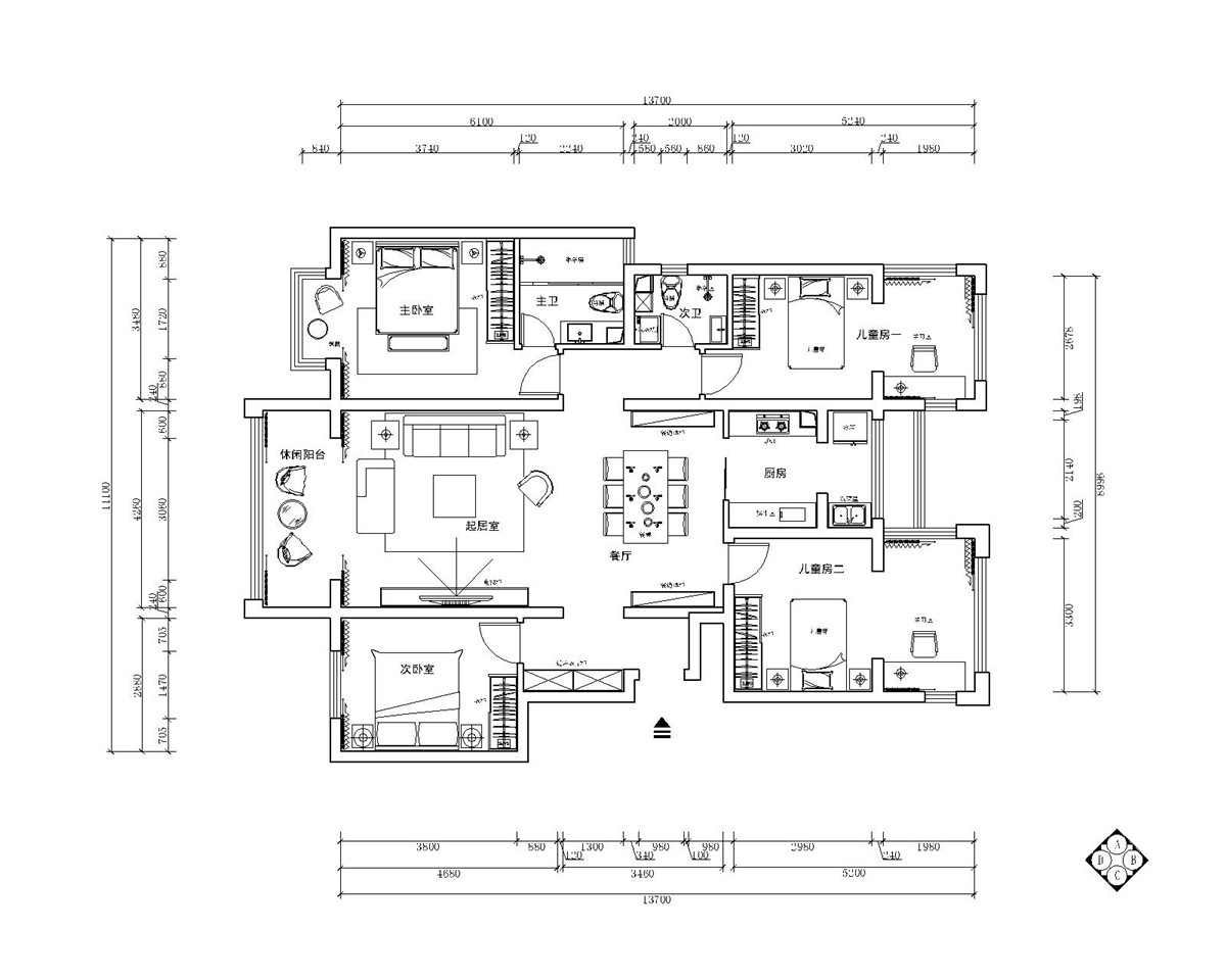 富立秦皇半岛-现代简约风格-168平米装修设计理念