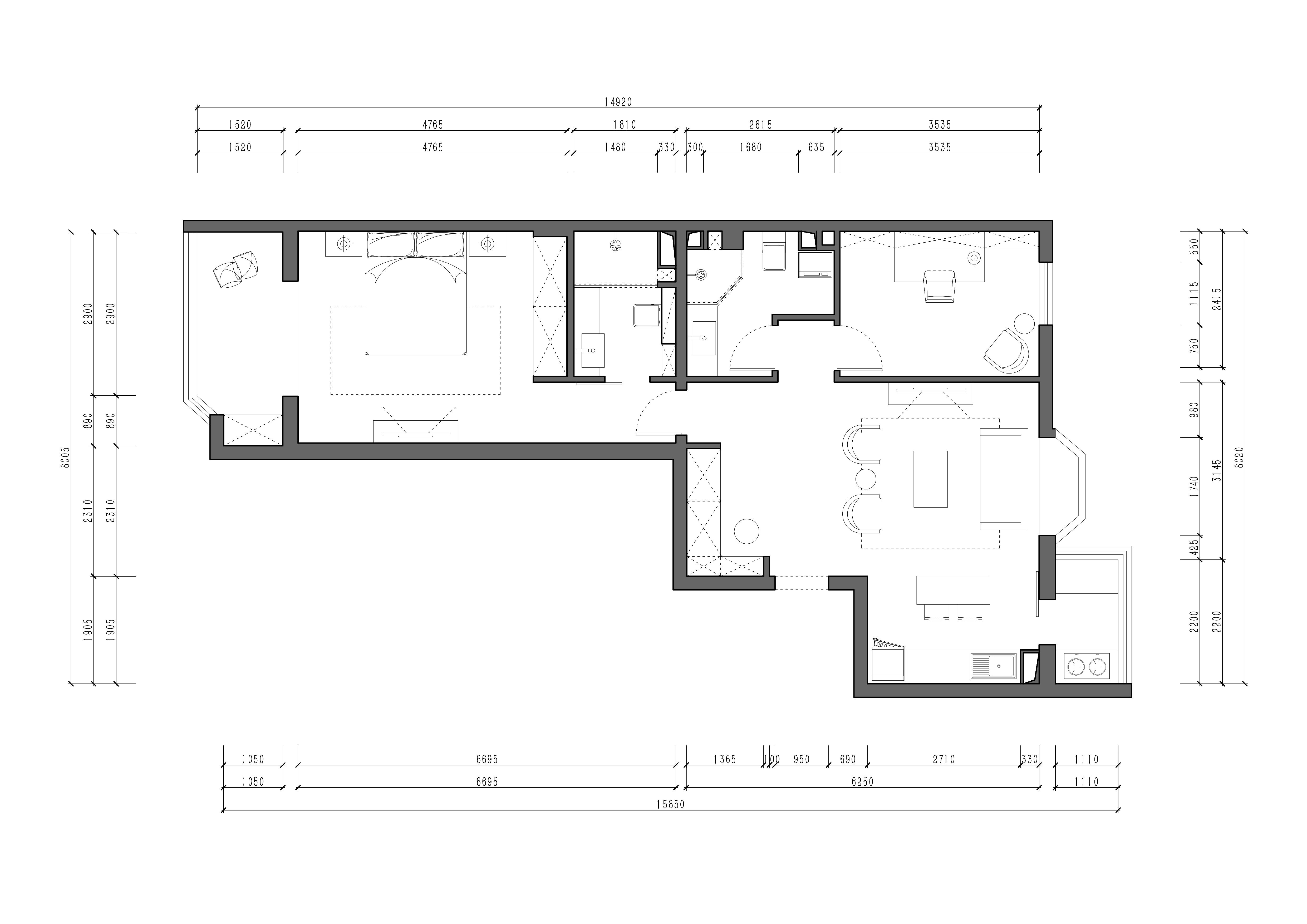 瑞丽江畔-现代简约-90平米装修设计理念