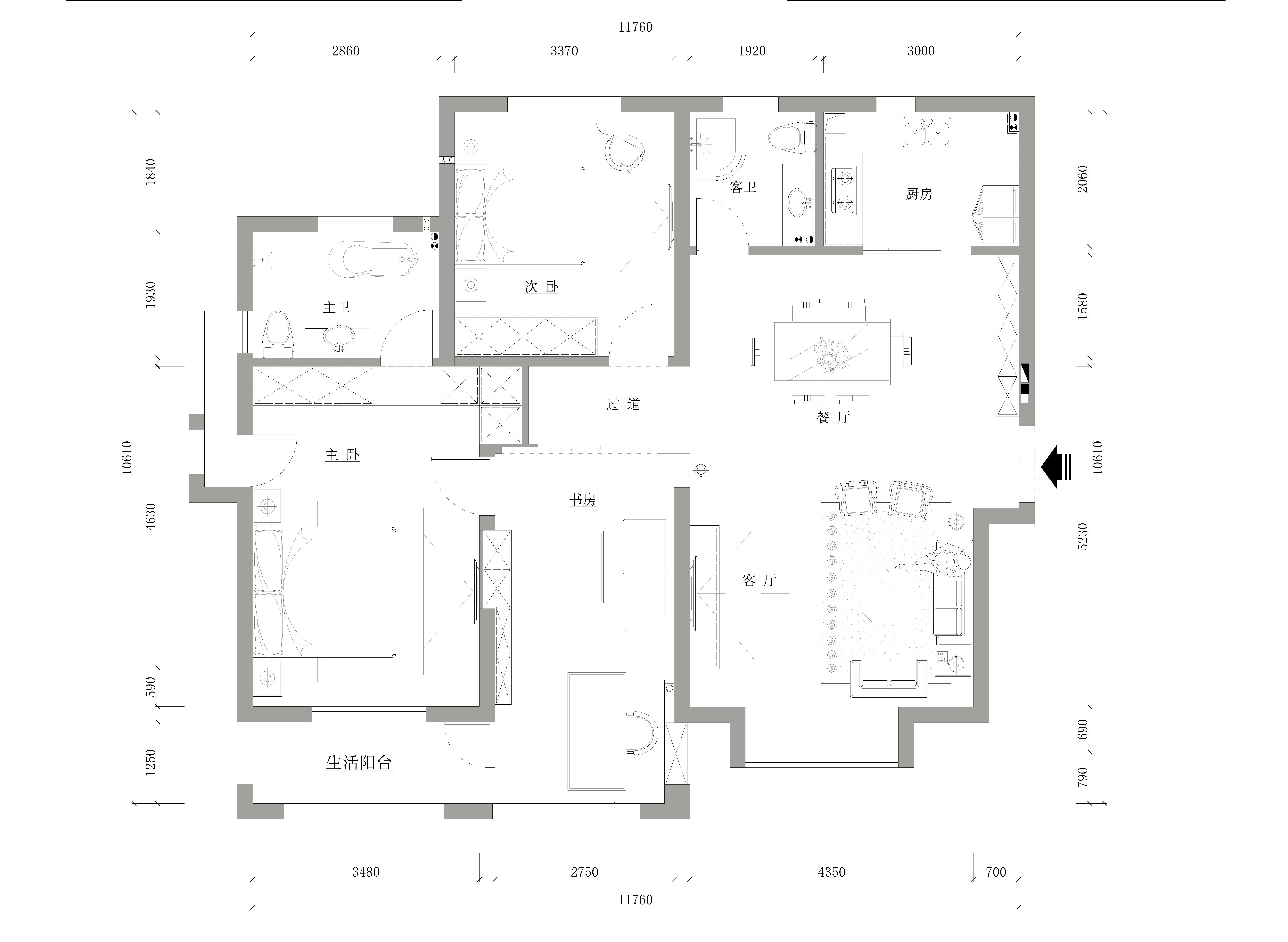 150平方现代中式三室两厅一厨两卫装修设计案例装修设计理念