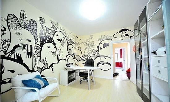 现代风格书房手绘墙装修图片-现代风格沙发图片图片
