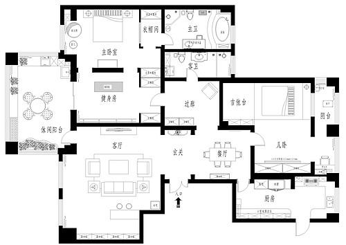 天山新公爵230平五室二厅现代前卫风格装修案例装修设计理念