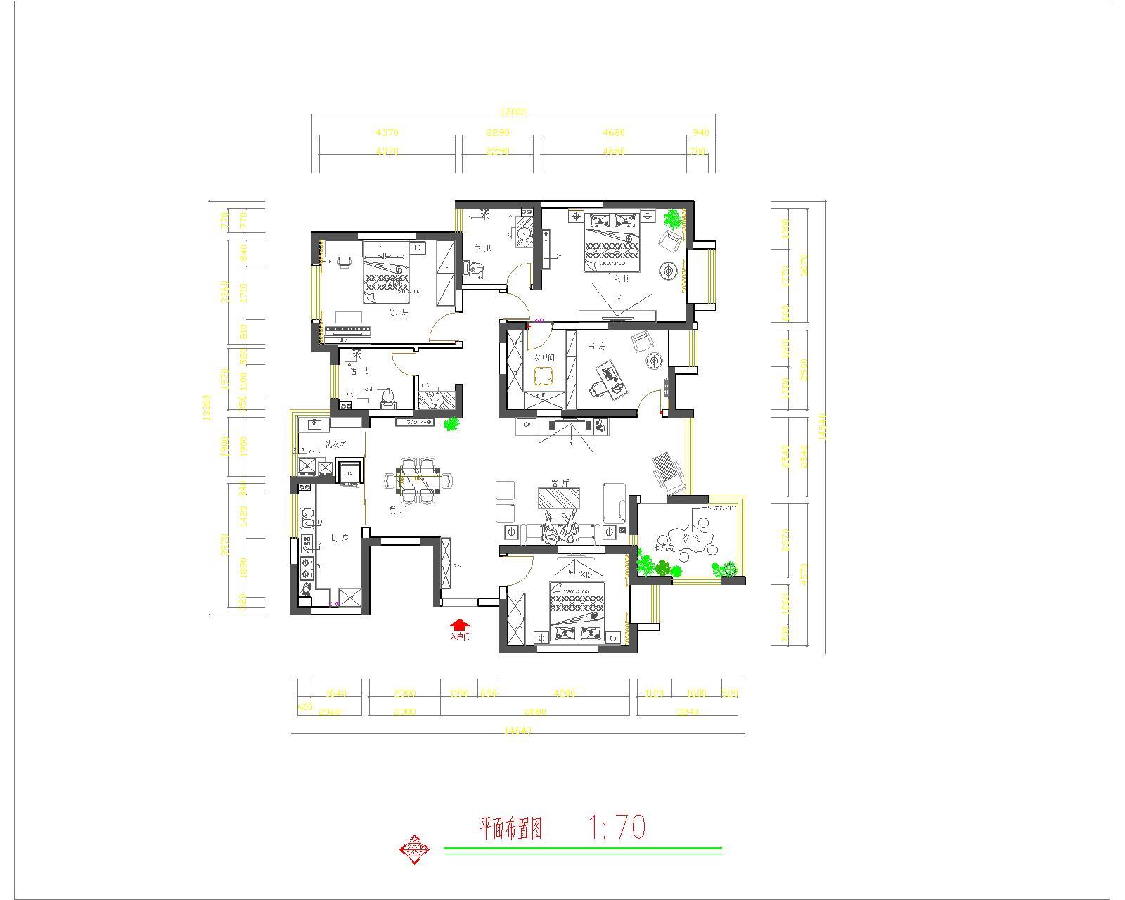 农大家属院新中式170平三居室装修设计理念