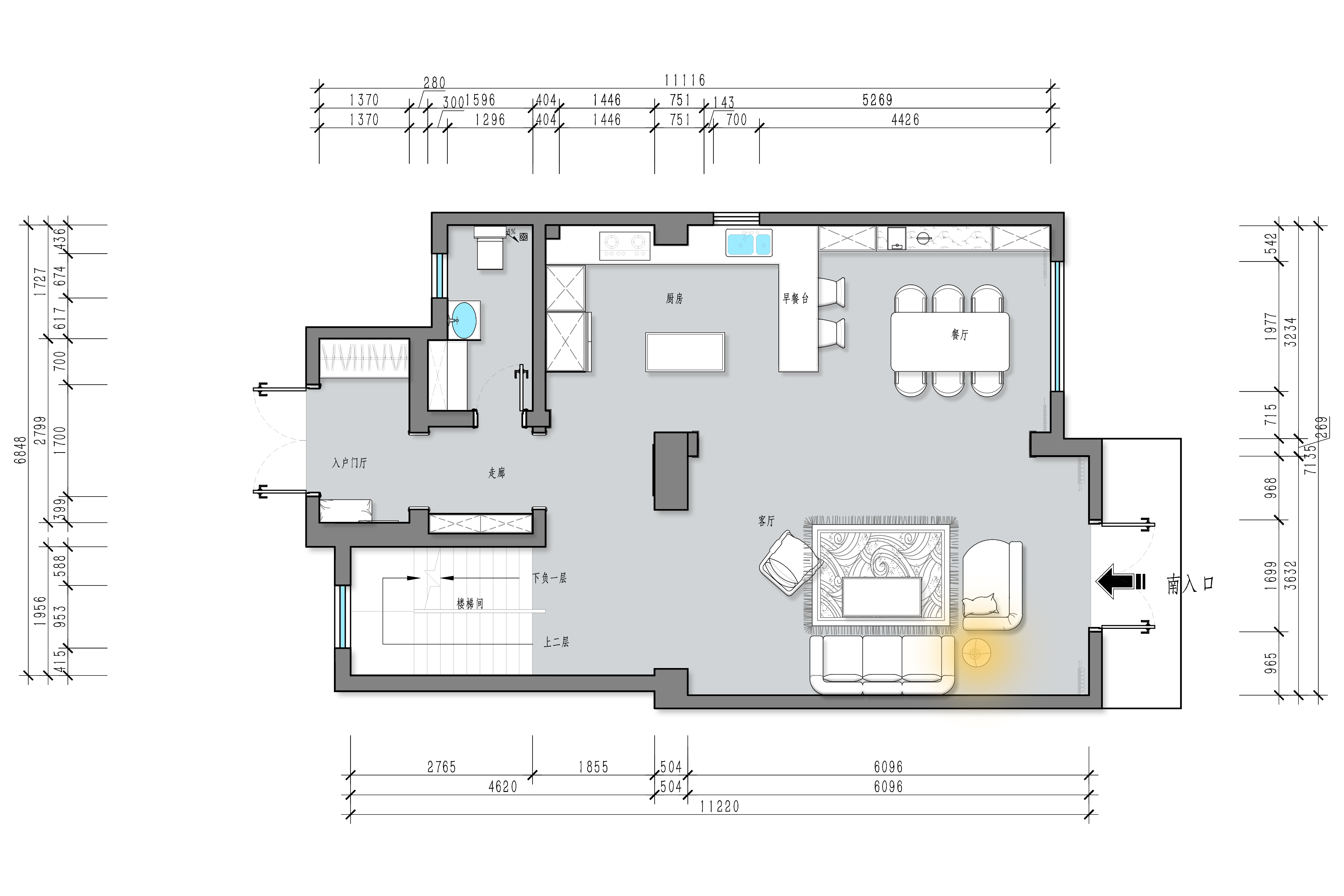 龙湖双珑原著 400平米设计案例 美式装修效果图装修设计理念