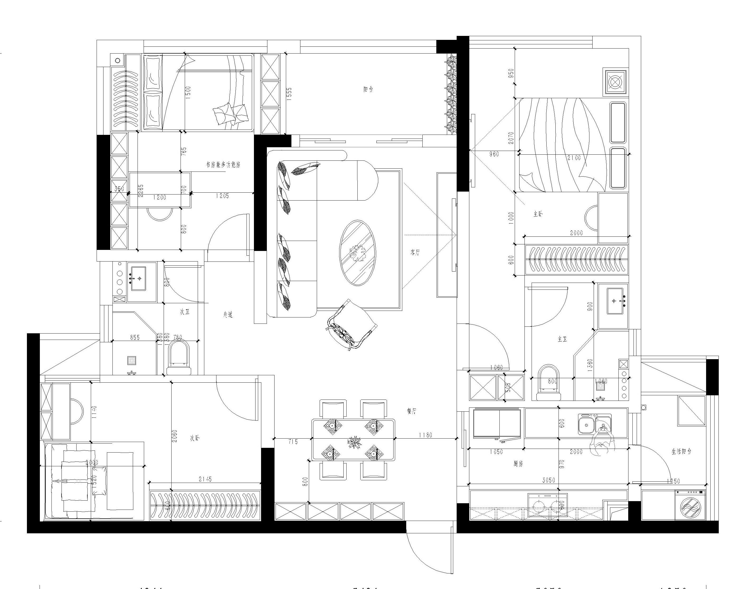 黄江金地湖山大境家装案例-102㎡北欧风三房二厅装修效果图装修设计理念