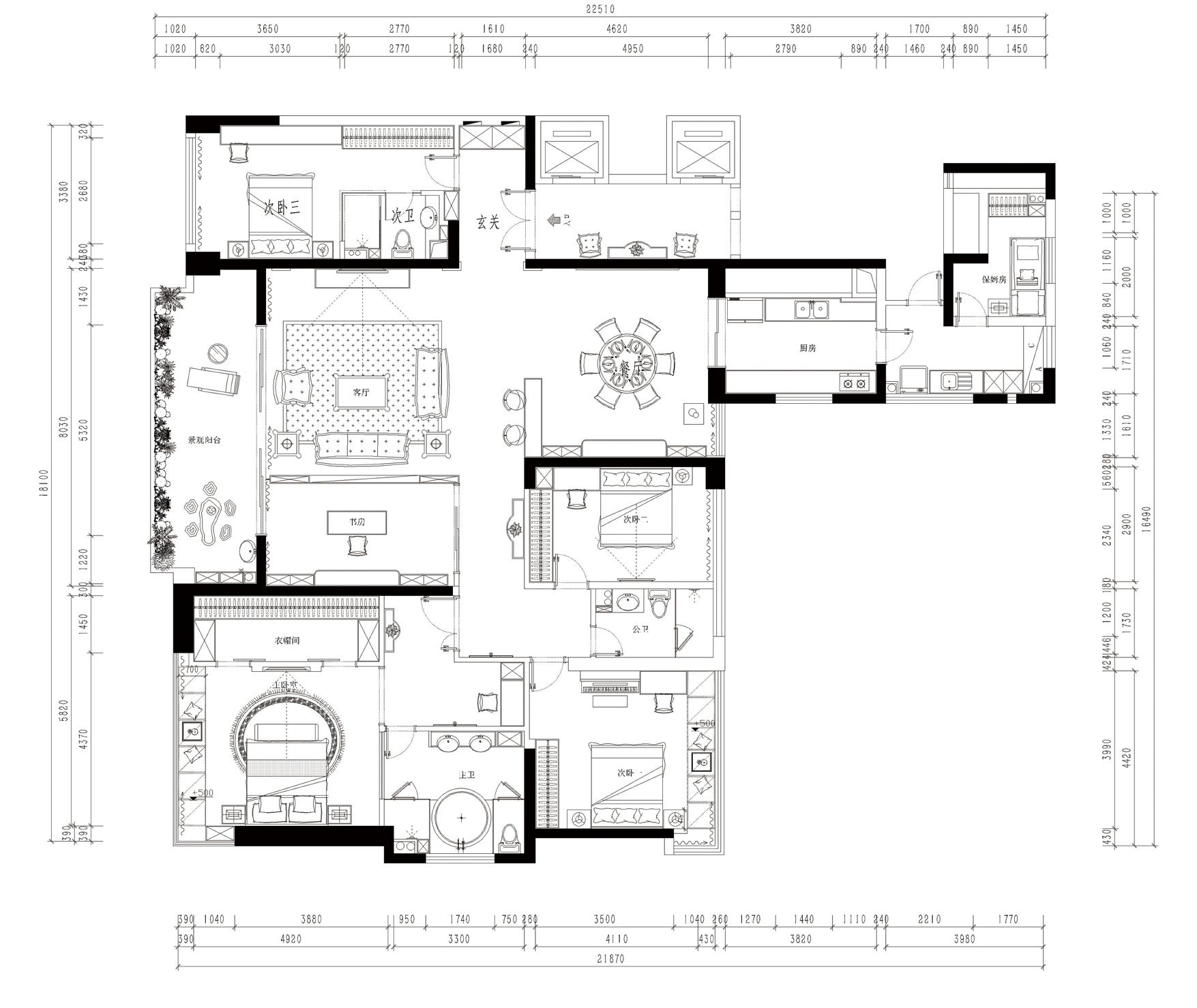 九号大院250平米-欧式古典装修设计理念