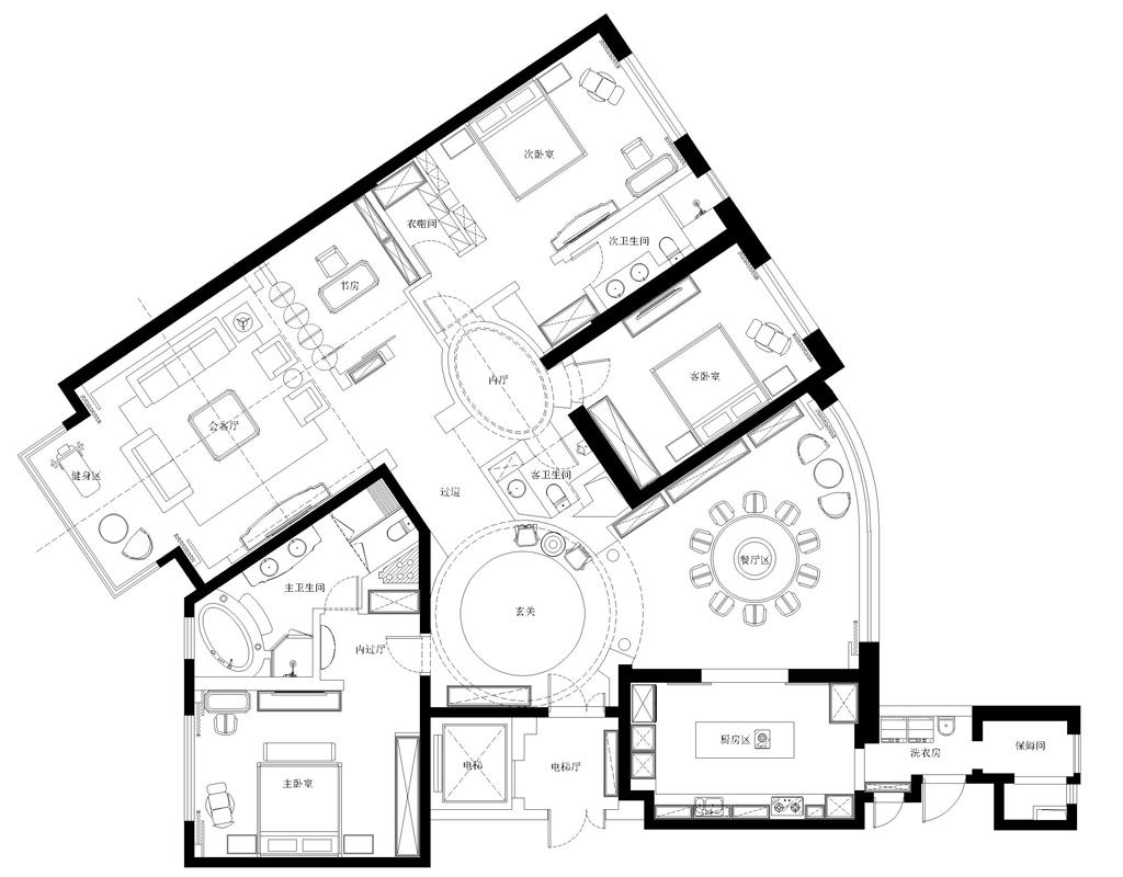 世茂滨江-新古典-300平米装修设计理念