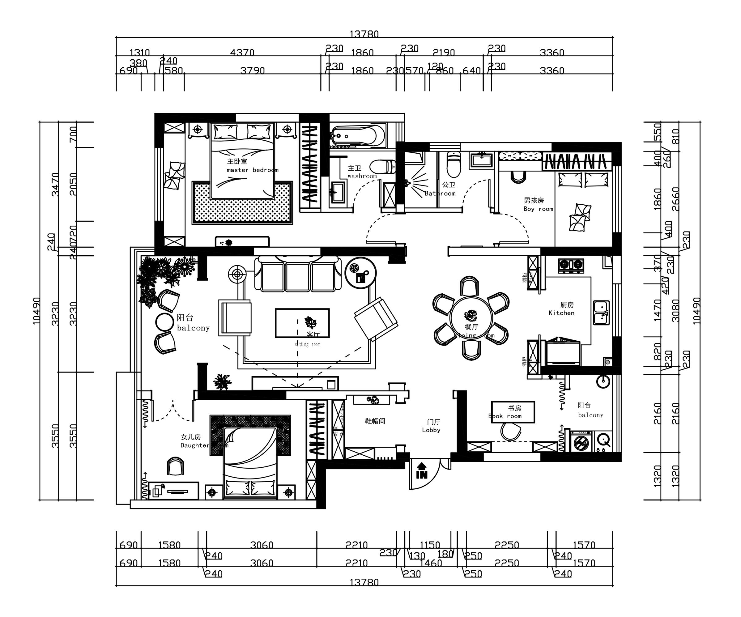 华夏御府120㎡四居式中欧混搭风格装修设计理念