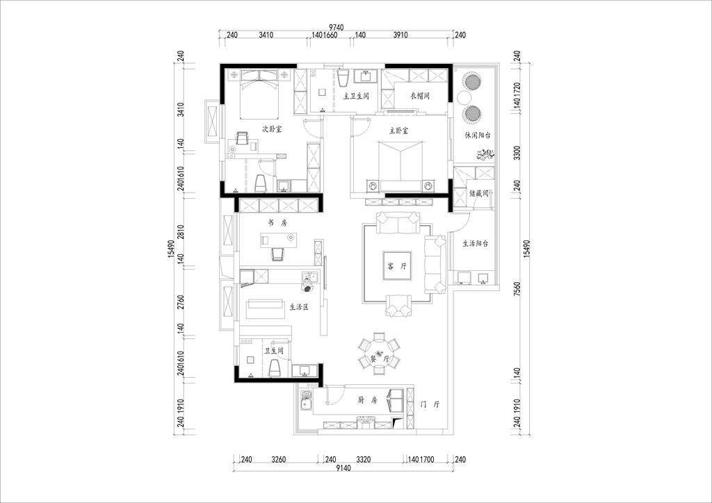 保利城174平米现代风格装修效果图