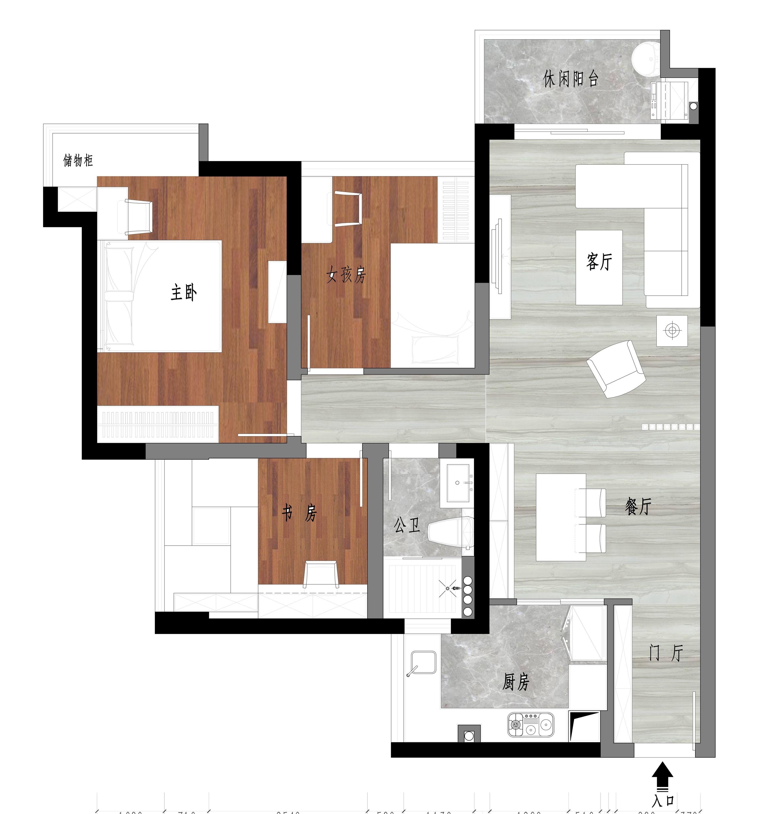 东城鼎峰尚境装修案例-94㎡新中式三房二厅装修效果图装修设计理念
