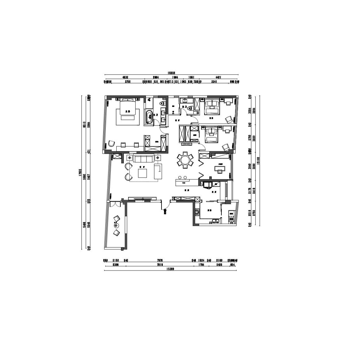 216㎡四居室现代轻奢风格装修效果图丨中环丰锦装修案例装修设计理念