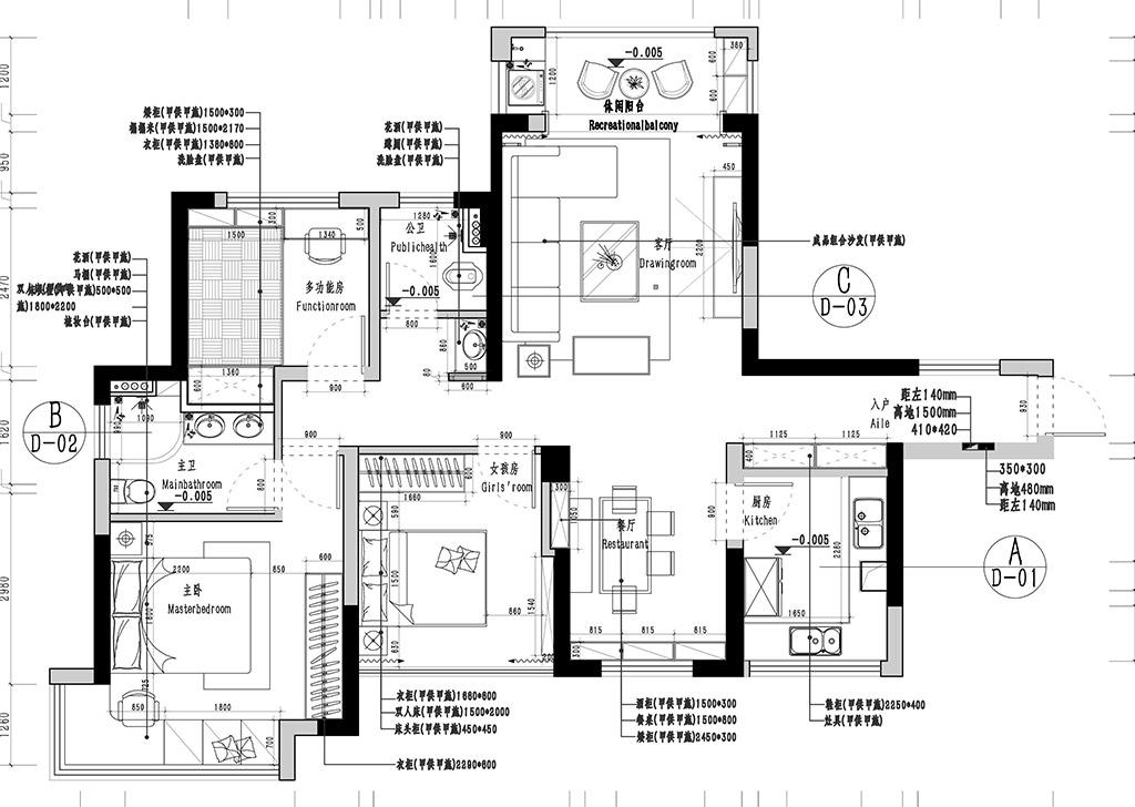 寮步万润广场装修案例-108㎡现代风格三房二厅装修效果图装修设计理念