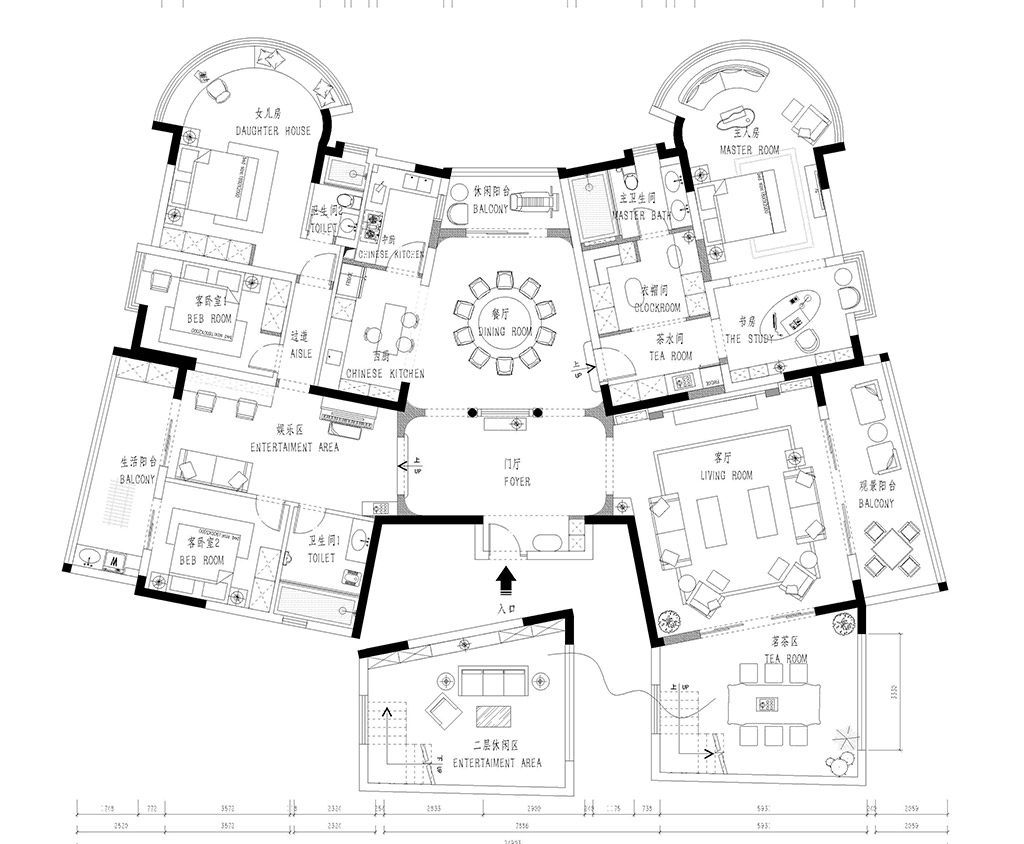 东莞厚街盛和花园-320㎡简欧大平层装修效果图装修设计理念