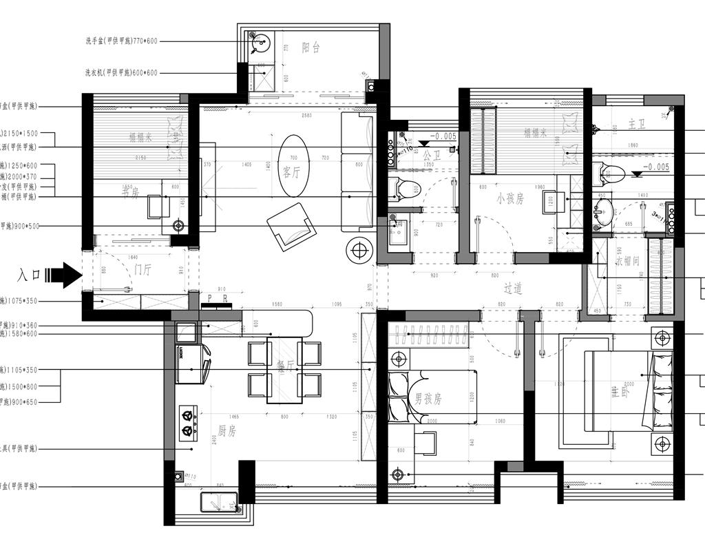 东城鼎峰尚境装修案例-120㎡地中海式四房二厅装修效果图装修设计理念