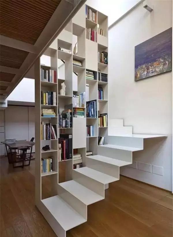 loft别墅,楼梯书架设计;正所谓,书中自有黄金屋