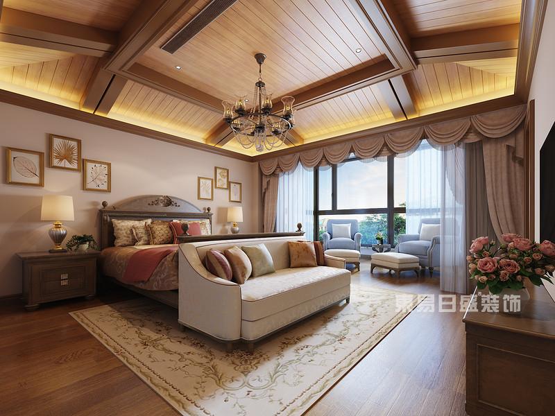 豪华别墅室内装修效果图中的公主房做了宽敞的落地窗户,给卧室增添了图片