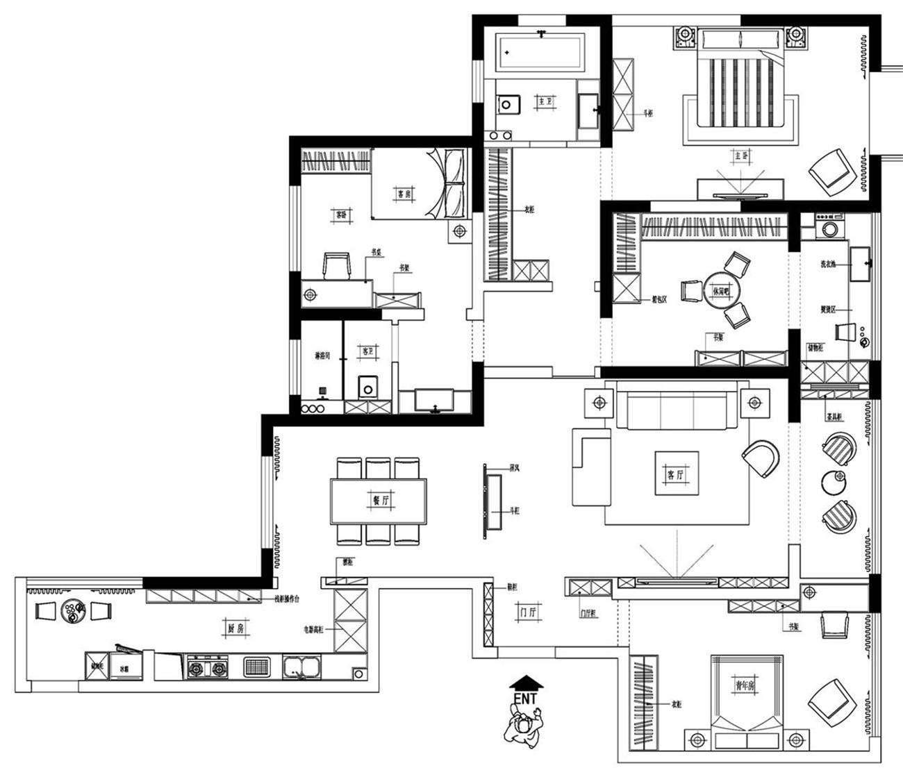 永威东棠新中式200平四室两厅装修设计理念