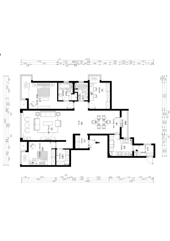 尚景新世界187平现代简约风格效果图装修设计理念