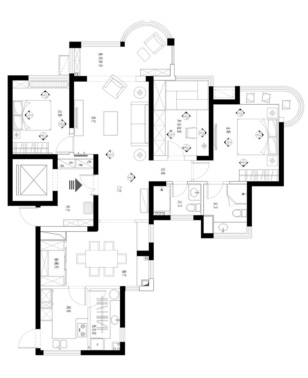 公馆一号135平美式风格设计装修效果图装修设计理念