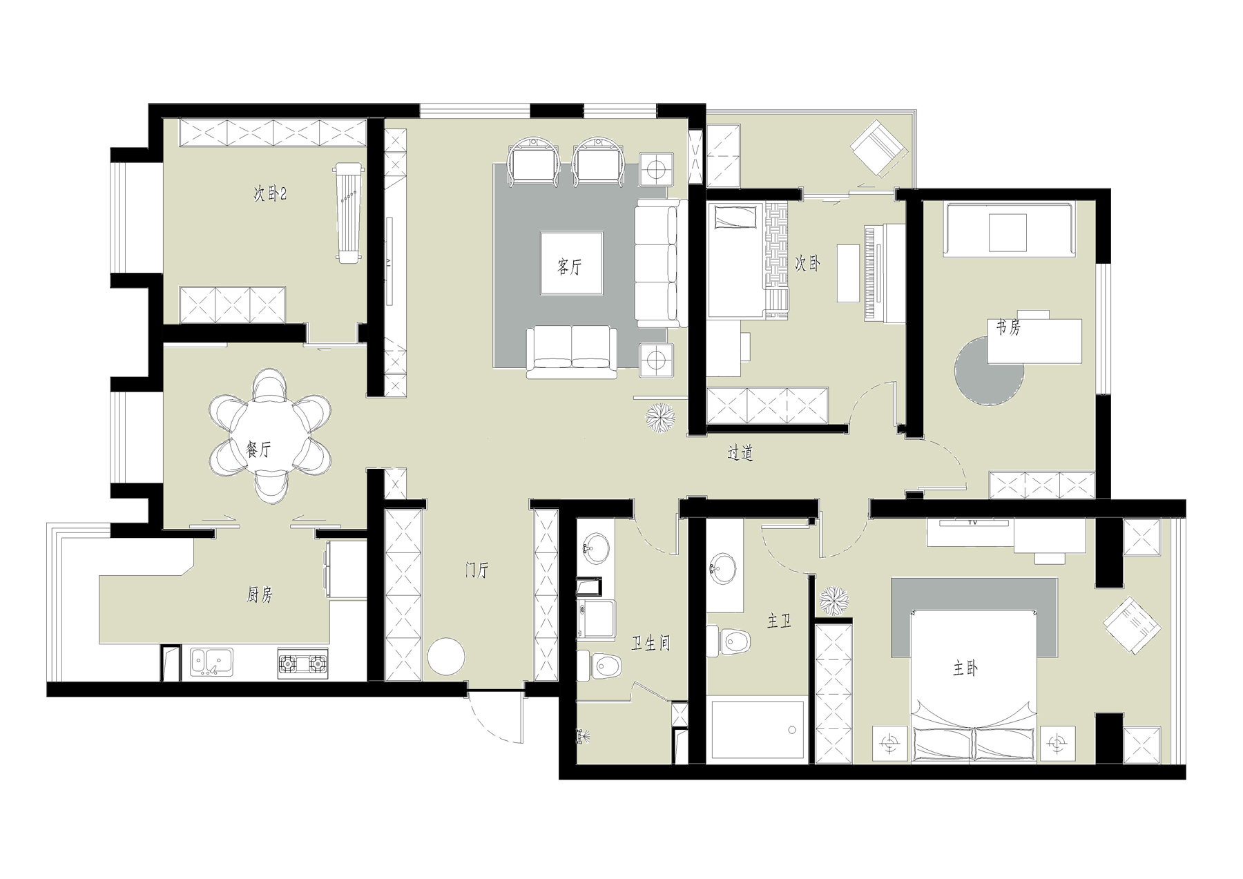 流星花园-新中式-170平米装修设计理念