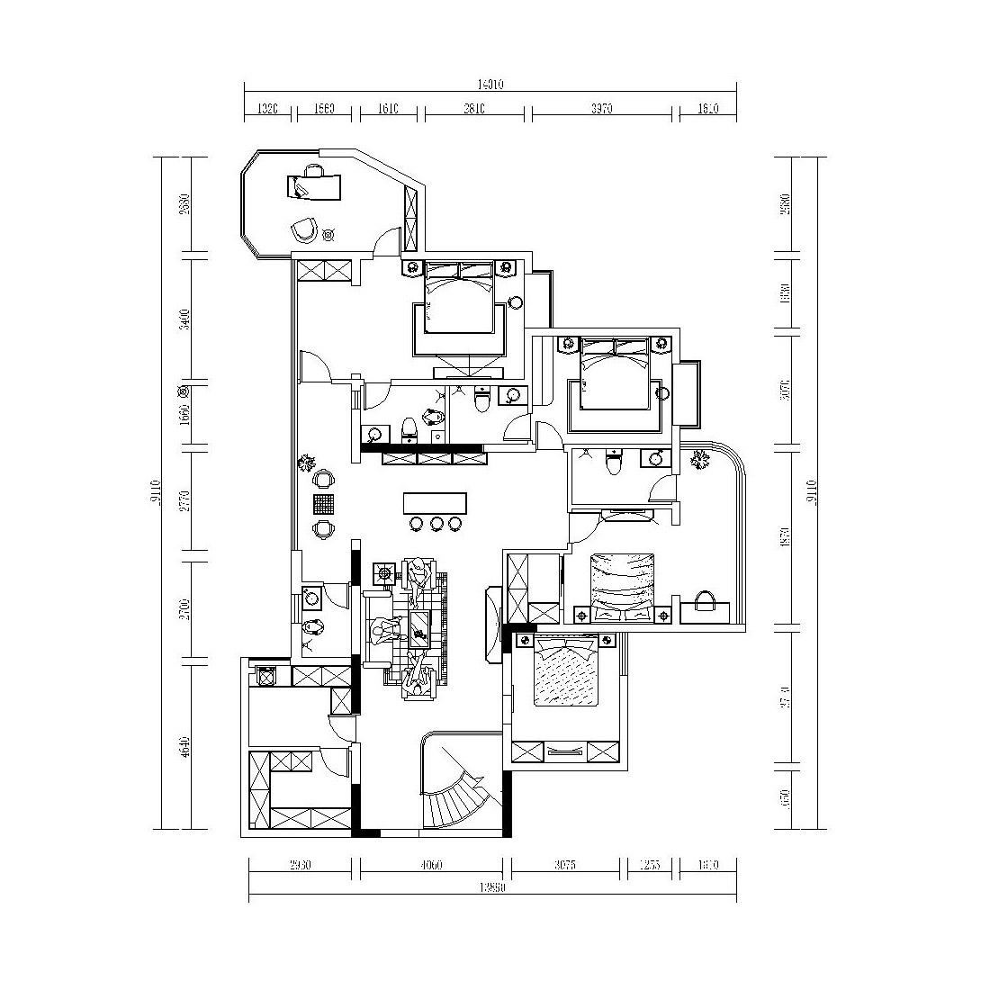翡翠城400㎡叠拼别墅简欧风格装修效果图装修设计理念