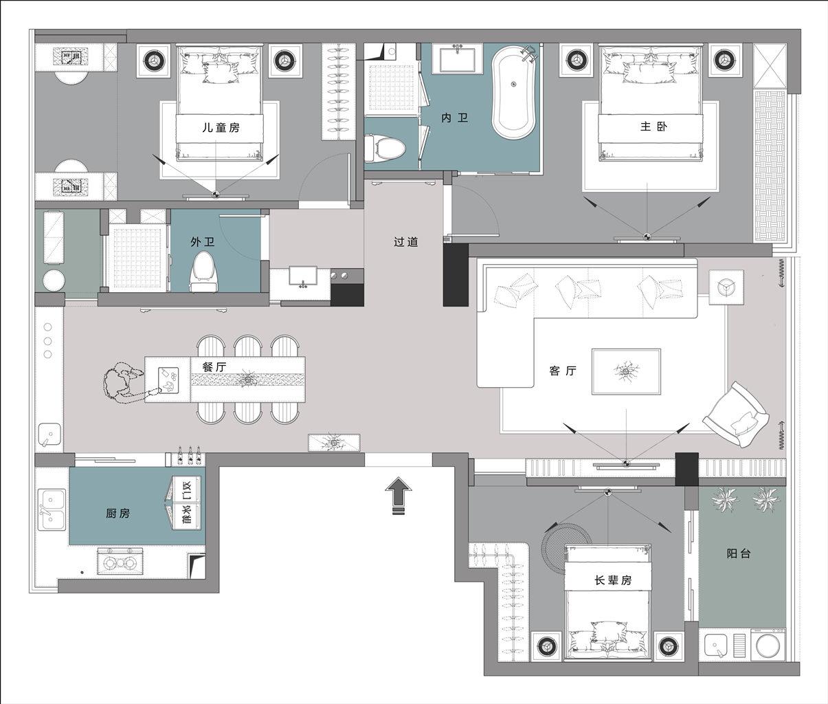 兰溪绿城兰园-140m²-现代风格装修设计理念