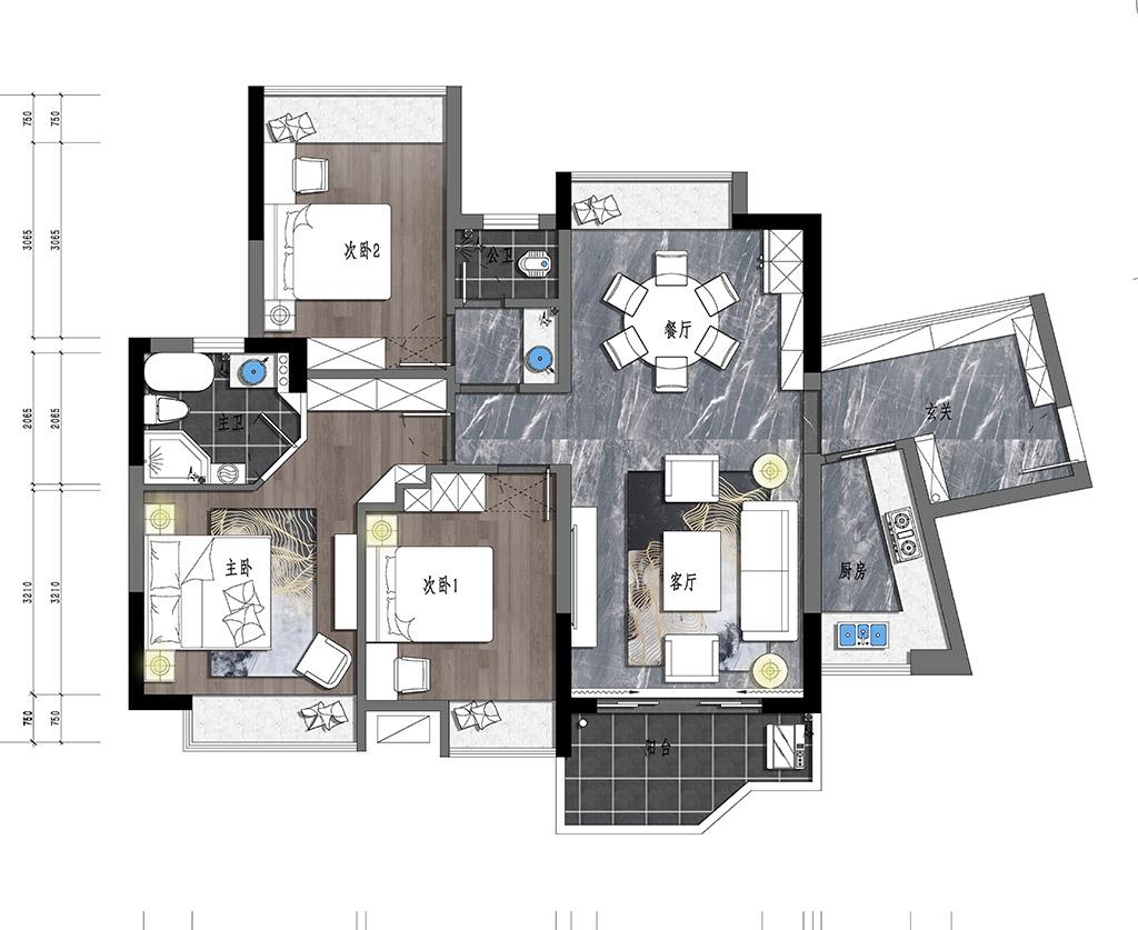 东莞长安花园装修案例-117㎡三房美式装修设计装修设计理念