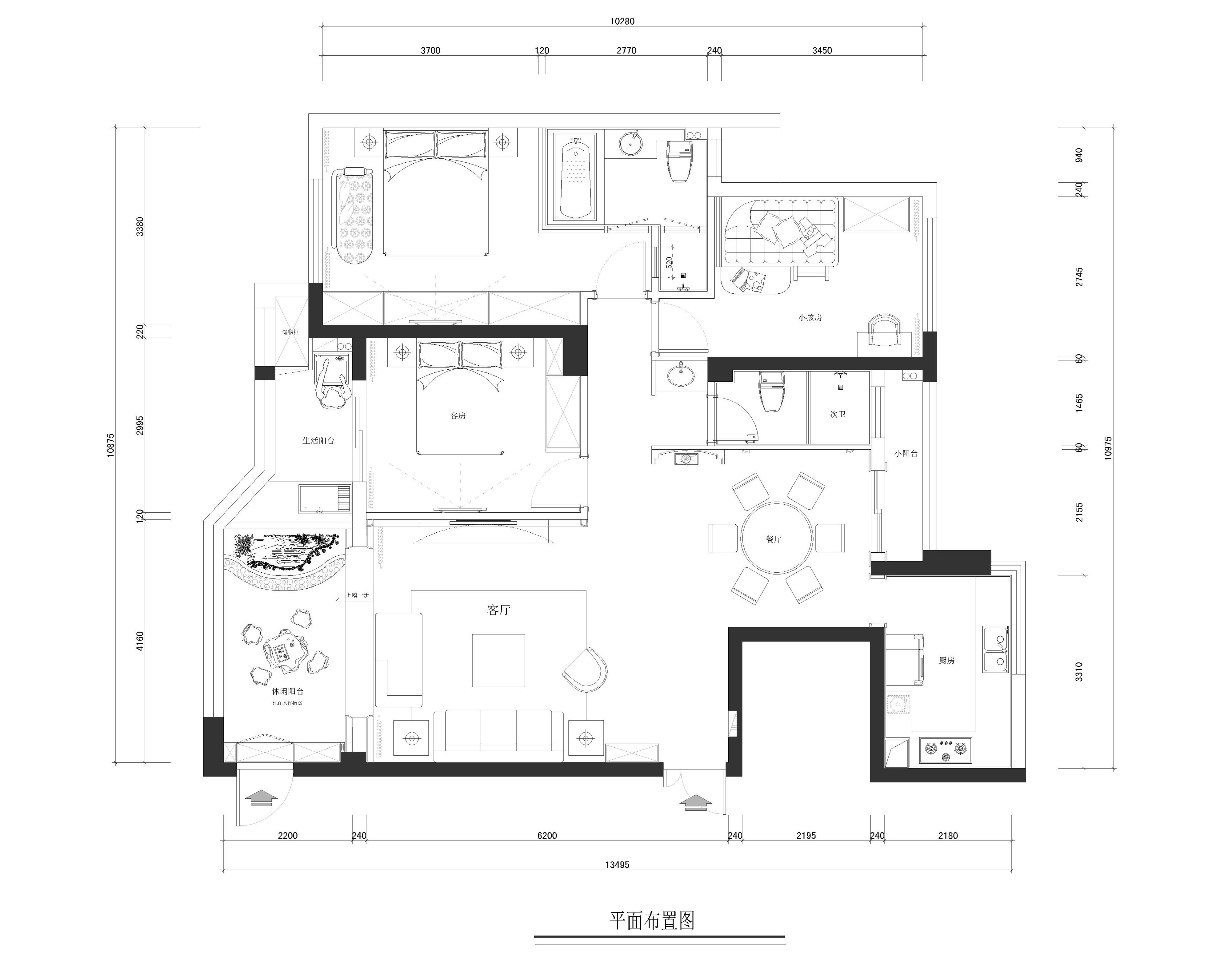 閩江世紀城-歐式風格-120平米裝修設計理念