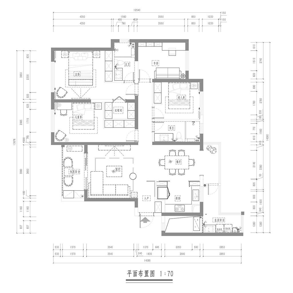 复地金融岛149㎡四居室现代港式风格效果图装修设计理念