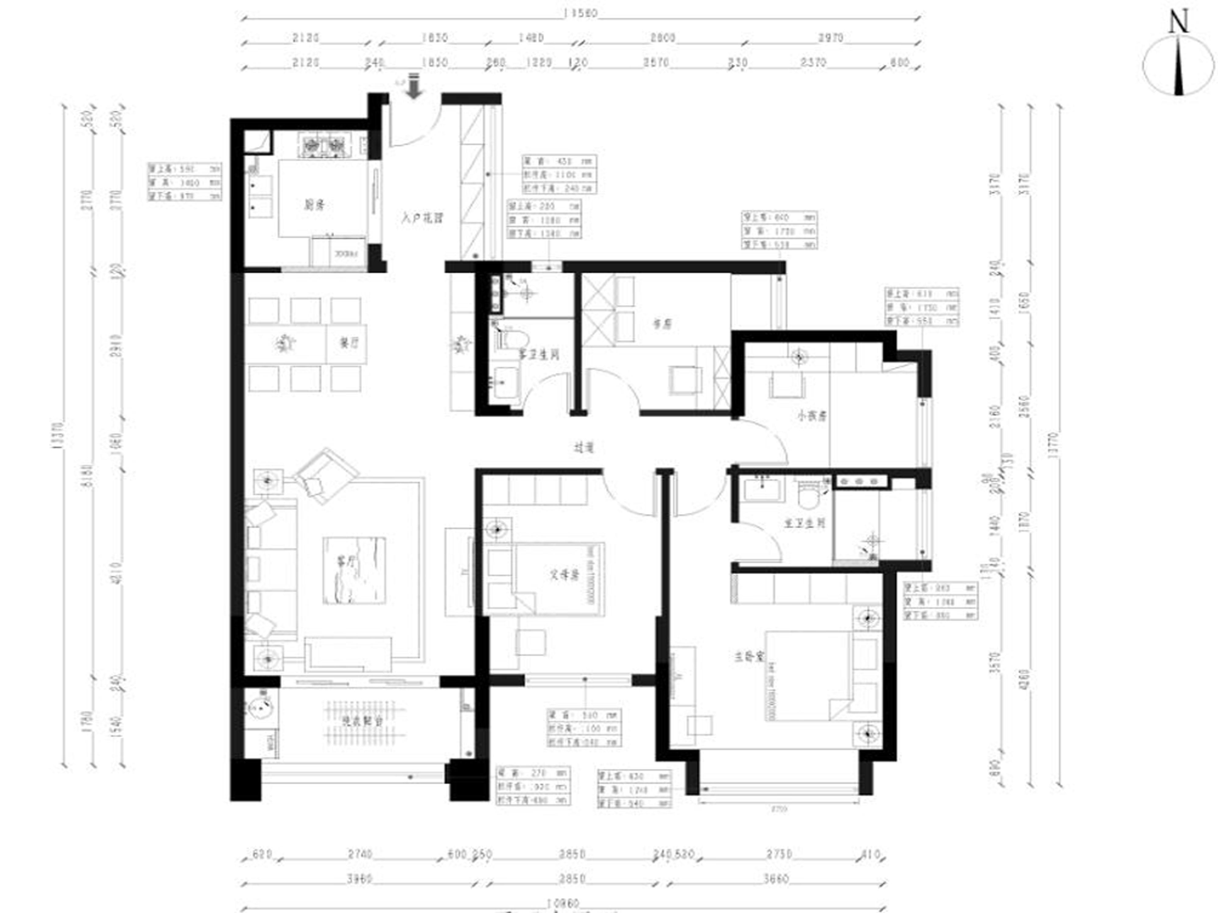 保利中央公园135㎡新中式三室两厅两卫装修效果图装修设计理念