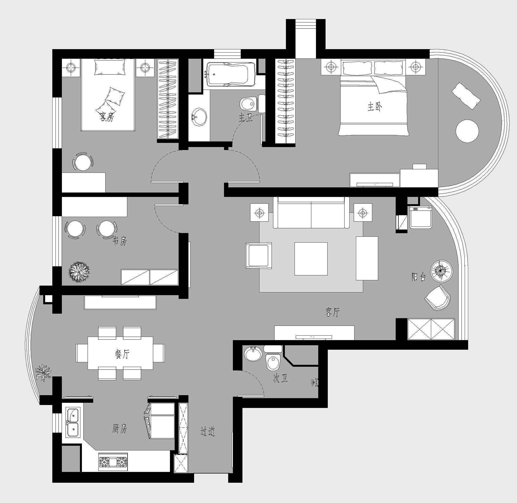 珠江绿洲-美式乡村-150平米装修设计理念