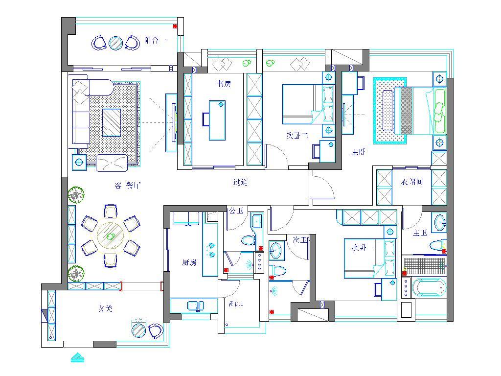 樟木头保利生态城装修案例-165㎡现代前卫四房二厅装修效果图装修设计理念