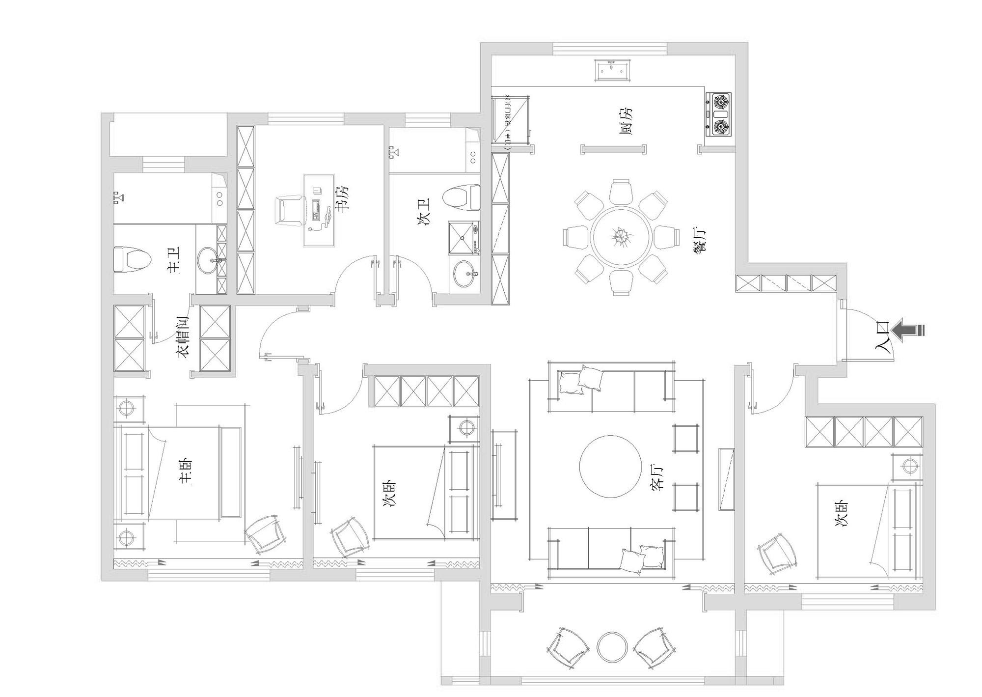 唐城101-欧式风格-180平米装修设计理念
