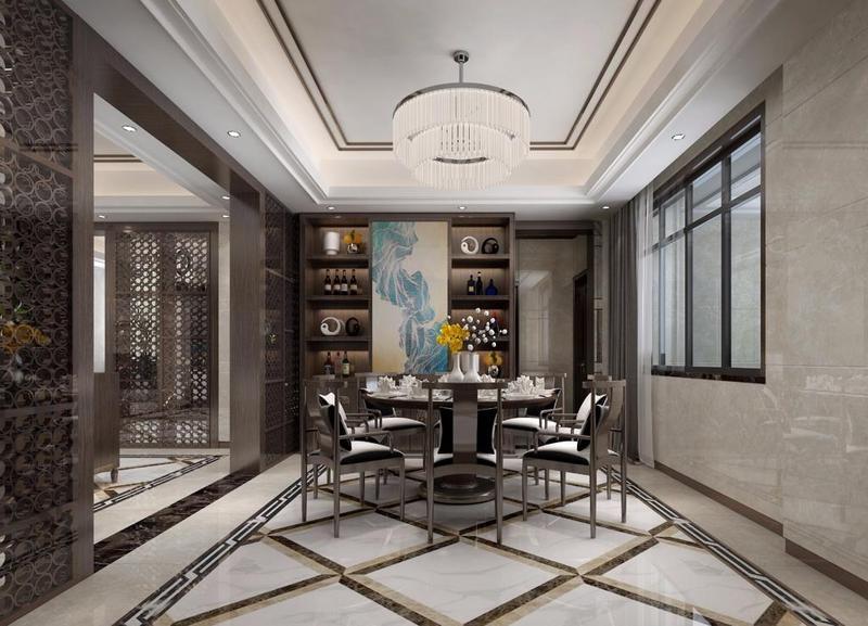 深圳东易日盛原创国际别墅装修公司作品-餐厅装修效果图